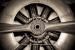 canvas print picture - vintage propeller aircraft engine closeup
