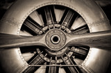 vintage propeller aircraft engine closeup