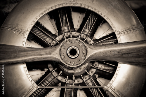 canvas print picture vintage propeller aircraft engine closeup
