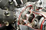 precision mechanics inside a propeller aircraft engine poster