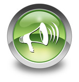 "Green Glossy Pictogram ""Megaphone / Announcement Symbol"""