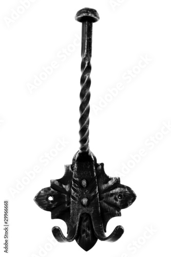 Old-fashioned metal hanger isolated on white