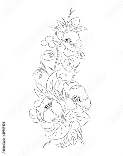 black and white flowers patterns. Vector lack a white flower