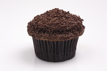 Chocolate Butter Cream Cupcake on a White Background