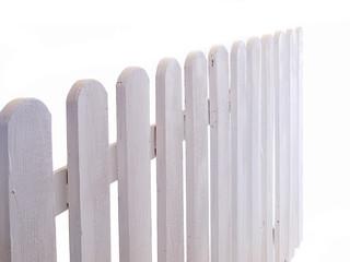 white wooden fence on white background
