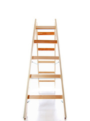 wooden ladder on white background