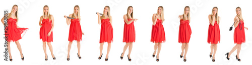 Caucasian woman in red dress isolated on white