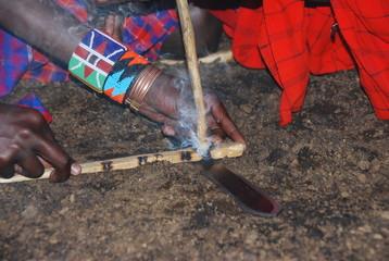 Massai Warriors starting fire