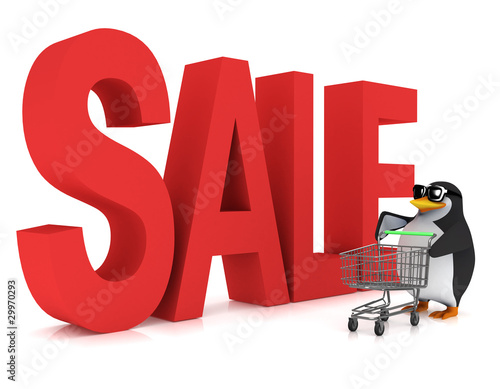 3d Penguin at the Sales