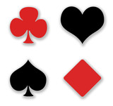 Four symbols card gambling on white background. poster