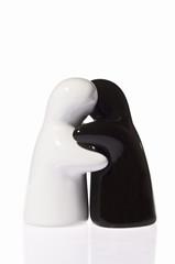 Salt and Pepper Shaker in hug on White