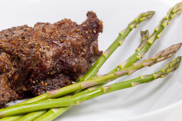 Steak with Asparagus - close up shot