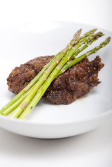 Steak with Asparagus - vertical shot