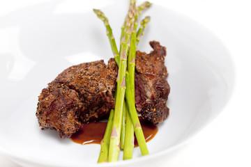 Steak with Asparagus - Horizontal shot