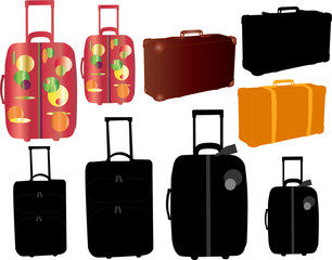 travel bags and suitcase - vector