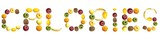 Calories word made of fruits poster