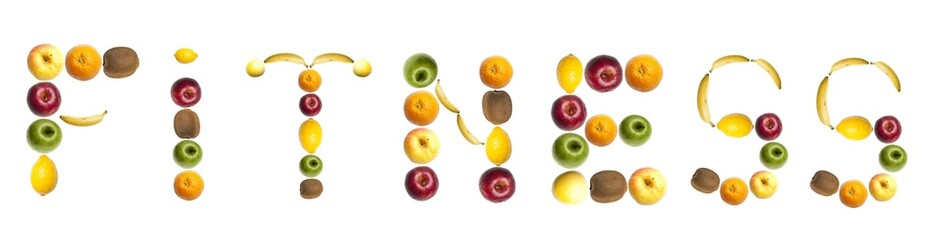Fitness word made of fruits