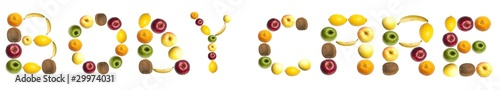 Body care word made of fruits
