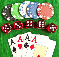 Set of gambling objects - poker chips - cards - dices -