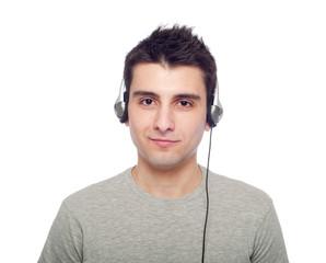 Casual man listening music