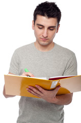 Man studying with dossier