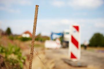 Eisenstange auf Baustelle