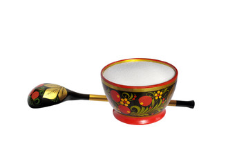 Wooden painted spoon and saltcellar  with salt
