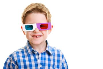 Cute boy wearing 3D glasses