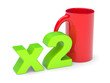 "3D an inscription ""x2"" and cup"