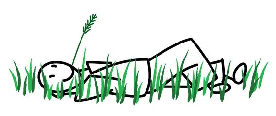 Homme couché dans l'herbe