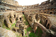 On first circle of arena in ancient Coliseum in Rome, Italy