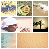 Oriental  arabic theme with sand, sea, seashells and magic lamp