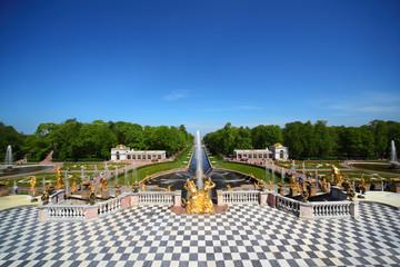 Grand Cascade Fountains At Peterhof Palace garden