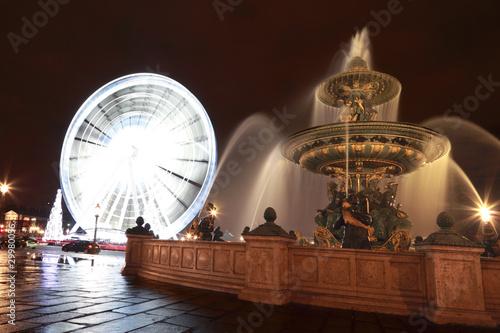 Leinwanddruck Bild Fontaine des Mers, Christmas tree and a Ferris wheel