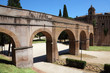 archs and road near Sant' Angelo Castel at summer in Rome, Italy
