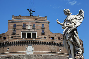 Sant' Angelo Castel and beautiful old sculpture at day in Rome,
