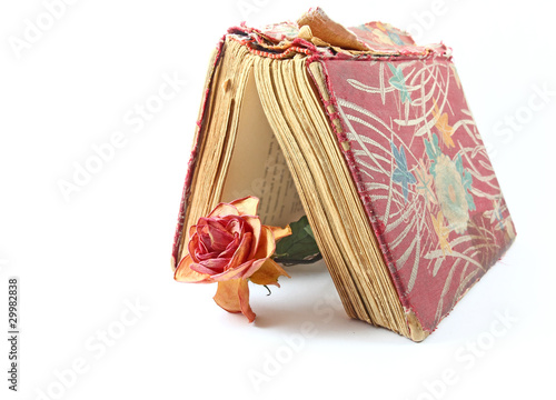 Dried red rose and an old book