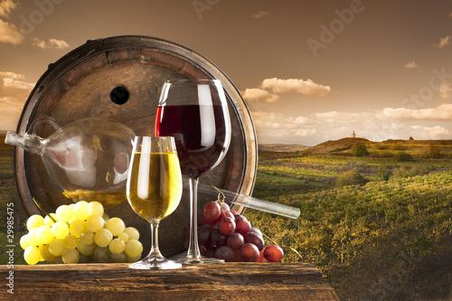 czerwone-i-biale-wino-w-winnicy
