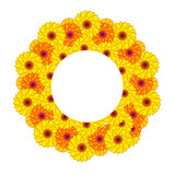 Vector illustration of sunny flowers. Gradient meshes.