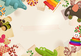 Toys, candy & childhood memories -  background poster
