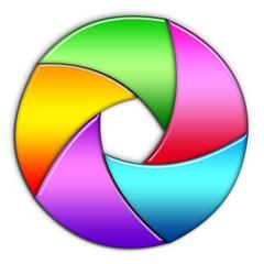 diaframma con lamelle colorate
