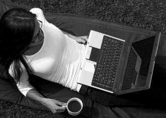 Girl Laptop Coffee Park