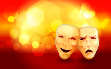 Comedy and Tragedy Masks With Abstract Lights