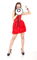 young beautiful woman in red dress with megaphone