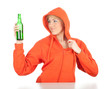 young woman keeping green bottle of beer