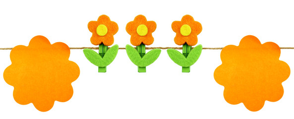 Orange post it and flowers