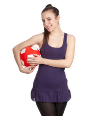 smiling young woman with red-white  ball