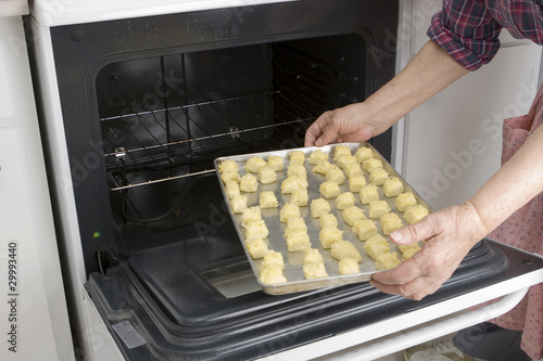 Grandma preparing her cheesepuff recipe (series)