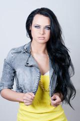 Beautiful woman in jeans jacket