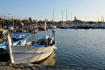 Fishing's dock, Alghero, Sardinia, Italy, Europe.